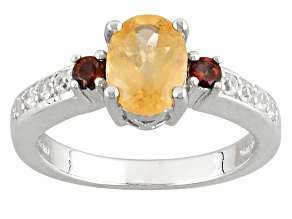 Golden Hessonite Sterling Silver Ring 1.71ctw