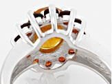 Golden Hessonite Sterling Silver Ring 3.05ctw