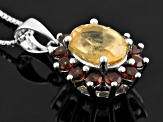 Golden Hessonite Garnet Sterling Silver Pendant With Chain 3.05ctw