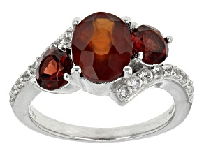 Red Hessonite Garnet And White Zircon Sterling Silver Ring 3.09ctw