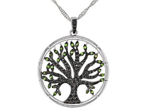 Black spinel sterling silver tree of life pendant with chain 64ctw black spinel sterling silver tree of life pendant with chain 64ctw aloadofball Images