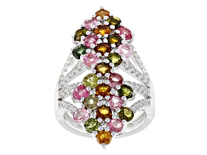 Multi-Tourmaline Sterling Silver Ring 2.58ctw