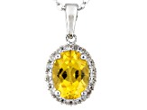 Yellow Beryl Sterling Silver Pendant With Chain .99ctw