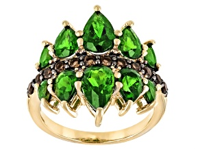 Green Chrome Diopside 18k Yellow Gold Over Silver Ring 3.64ctw
