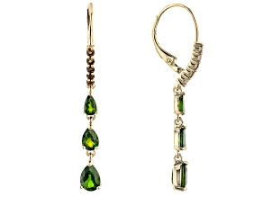Chrome Diopside and Smoky Quartz 18k Yellow Gold Over Silver Drop Earrings 2.72ctw