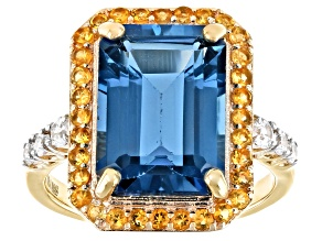 London Blue Topaz 18k Yellow Gold Over Silver Ring 8385ctw