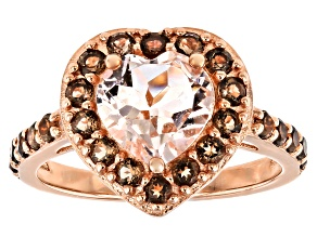 Pink Morganite 18k Rose Gold Over Silver Heart Ring 1.83ctw