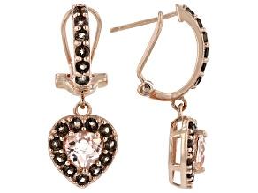 Pink Morganite 18k Rose Gold Over Silver Heart Earrings 2.31ctw
