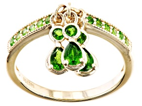Green Russian Chrome Diopside 18k Yellow Gold Over Silver Charm Ring 0.72ctw