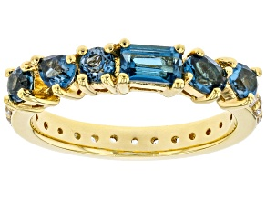 London Blue Topaz 18k Yellow Gold Over Sterling Silver Band Ring 1.79ctw