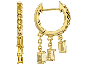 Yellow Citrine 18k Yellow Gold Over Silver Charm Earrings 1.08ctw