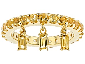 Yellow Citrine 18k Yellow Gold Over Silver 3-Charm Ring 1.73ctw