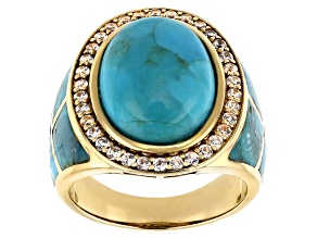 Blue Turquoise 18k Yellow Gold Over Silver  Inlay Ring