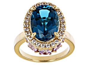 London Blue Topaz 18k Yellow Gold Over Silver Ring 8.38ctw