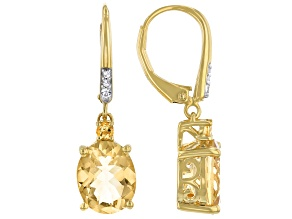 Citrine and White Zircon 18k Yellow Gold Over Silver Earrings 3.62ctw
