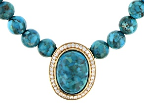"""Blue Turquoise with White Zircon Accent 18k Yellow Gold Over Silver 18"""" Bead Strand Necklace"""