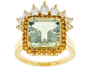 Prasiolite, Citrine, and White Zircon 18k Yellow Gold Over Silver Ring 5.17ctw