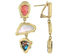 Pink Rhodochrosite 18k Yellow Gold Over Silver Dangle Earrings