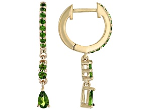 Green Chrome Diopside 18K Yellow Gold Over Sterling Silver Dangle Earrings 0.84ctw