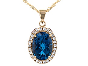 London Blue Topaz 18K Yellow Gold Over Silver Pendant with Chain 8.22ctw