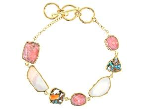 Pink Rhodochrosite 18k Yellow Gold Over Silver Station Bracelet