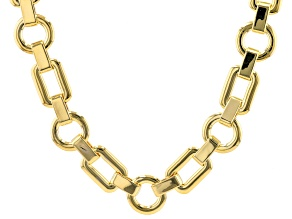 Round and Rectangular Shaped 18k Yellow Gold Over Brass Chain Necklace