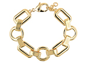 Round and Rectangular Shaped 18k Yellow Gold Over Brass Chain Bracelet