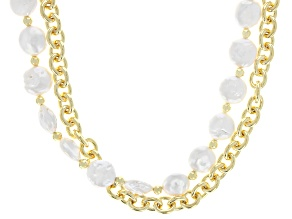 White Cultured Freshwater Pearl 18k Yellow Gold Over Brass Double Strand Necklace