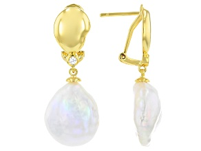 White Cultured Freshwater Pearl 18k Yellow Gold Over Brass Dangle Earrings
