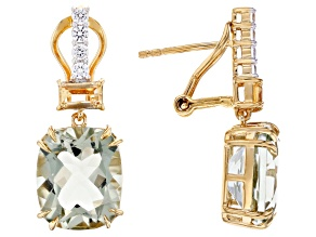 Prasiolite, Citrine, and White Zircon 18k Yellow Gold Over Silver Earrings 8.77ctw