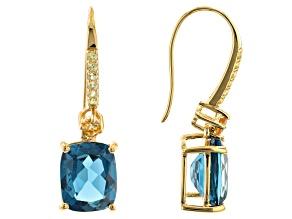 London Blue Topaz 18k Yellow Gold Over Silver Dangle Earrings 8.89ctw