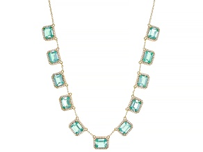 Green Lab Created Spinel 18k Yellow Gold Over Silver Necklace 28.23ctw