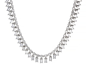 White Zircon and Cultured Freshwater Pearl Rhodium Over Silver Bolo Necklace 22.12ctw