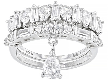 Picture of White Zircon Rhodium Over Silver Set of 2 Stackable Charm Ring 3.02ctw