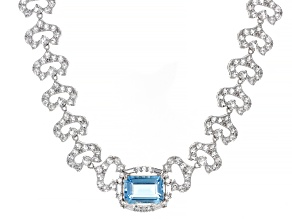 Sky Blue Topaz Rhodium Over Sterling Silver Necklace 30.09ctw