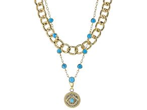 Blue Turquoise 18k Yellow Gold Over Brass Evil Eye Drop Necklace 3.40ctw