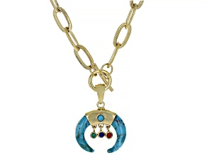 Turquoise, Lapis, Green Onyx, and Red Sponge Coral, Gold Tone  Enhancer with Chain