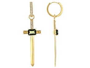 Green Moldavite 18k Yellow Gold Over Silver Cross Earrings 3.07ctw