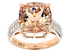 Pink Morganite 14k Rose Gold Ring 6.09ctw