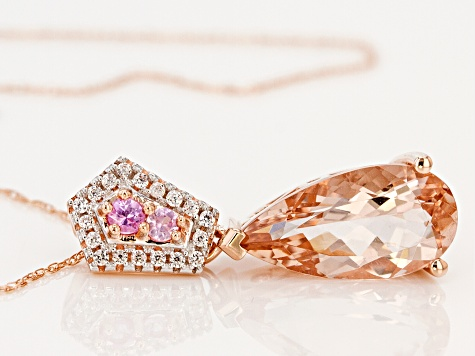 Pink Morganite 10k Rose Gold Pendant With Chain 2.67ctw
