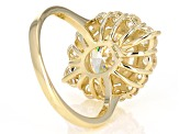 White Fabulite Strontium Titanate 10K Yellow Gold Ring 5.71ctw
