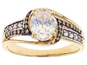 Fabulite Strontium Titanate And Champagne diamond With White Zircon 10k Yellow Gold Ring 1.77ctw