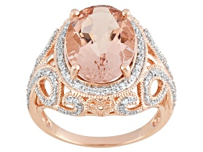 Pink Morganite 10k Rose Gold Ring 4.49ctw.