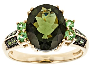 Green Moldavite 10k Yellow Gold Ring 2.70ctw