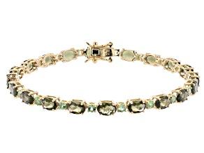 Green Moldavite 10k Yellow Gold Bracelet 7.04ctw