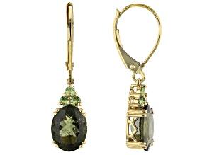Green Moldavite 10k Yellow Gold Earrings 2.42ctw