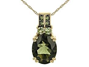 "Green Moldavite 10k Yellow Gold Pendant With 18"" Rope Chain 2.47ctw"