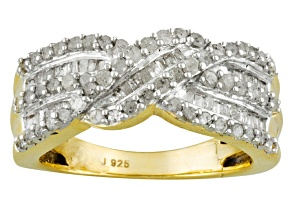 Diamond 14k yellow gold over sterling silver band 1.00ctw