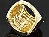 Diamond 14k Yellow Gold Over Silver Wide Band 2.00ctw