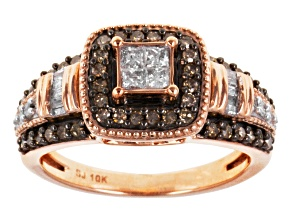 Brown And White Diamond Ring 10k Rose Gold .75ctw